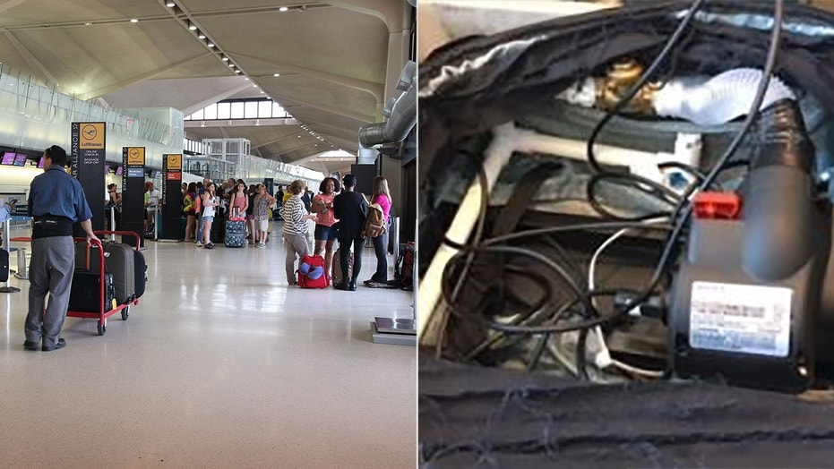 Nine people claiming to work for a TV network tried to smuggle a fake explosive device past a security checkpoint at the Newark Liberty airport, according to the TSA.