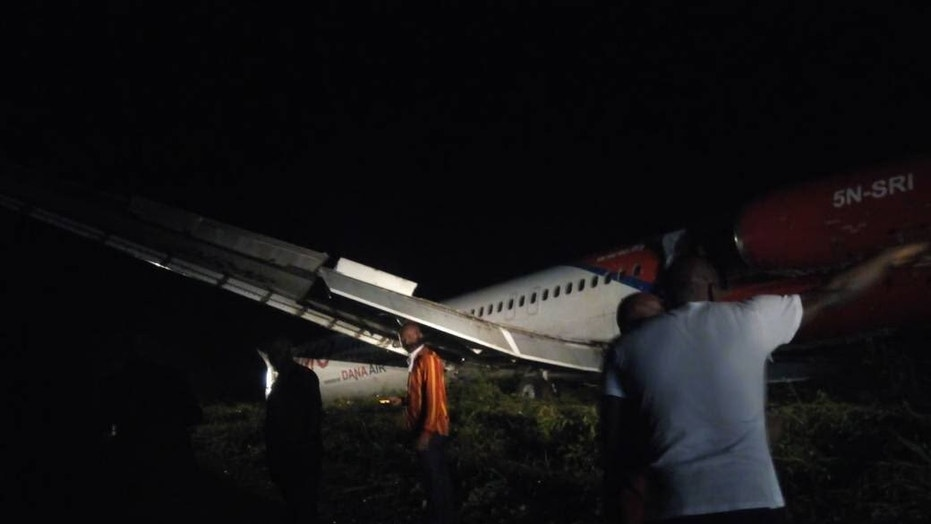 A plane traveling from Nigeria's capital to the country's Rivers State skidded off the runway due to heavy wind and inclement weather, the airline stated.