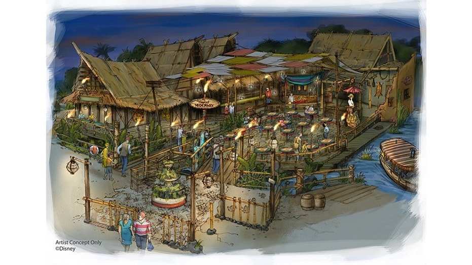 The tropical-themed rest stop will have a traders' market, featuring all of the sights, sounds and flavors of the tropics.