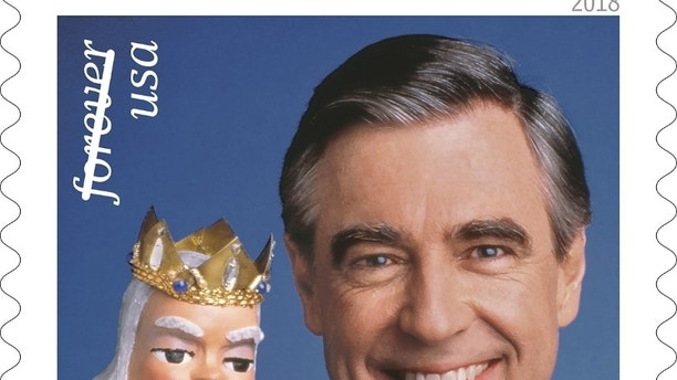 "This image released by the U.S. Postal Service shows the Mister Rogers forever stamp which will go on sale on Friday, March 23. Fred Rogers, the gentle TV host who entertained and educated generations of preschoolers on ""Mister Rogers' Neighborhood,"" died in 2003 at age 74. (U.S. Postal Service via AP)"