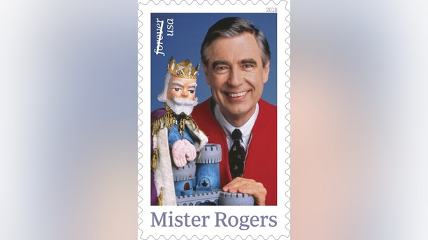 """This image released by the U.S. Postal Service shows the Mister Rogers forever stamp which will go on sale on Friday, March 23. Fred Rogers, the gentle TV host who entertained and educated generations of preschoolers on """"Mister Rogers' Neighborhood,"""" died in 2003 at age 74. (U.S. Postal Service via AP)"""