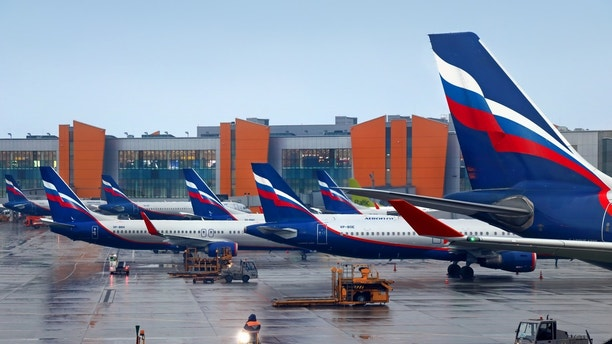 Moscow, Russia - April 2, 2017: aircrafts of Aeroflot Russian Airlines are parked at Sheremetyevo airport terminal.