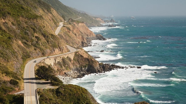 A late afternoon view of Pacific Coast Highway (aka Highway 1) on the Central California coastline in the Big Sur area.