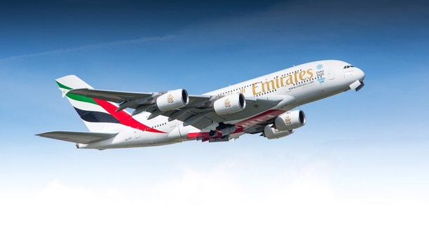 Z?rich, Switzerland - May 08, 2014: Airbus A380 of Emirates Airline departing Zurich airport