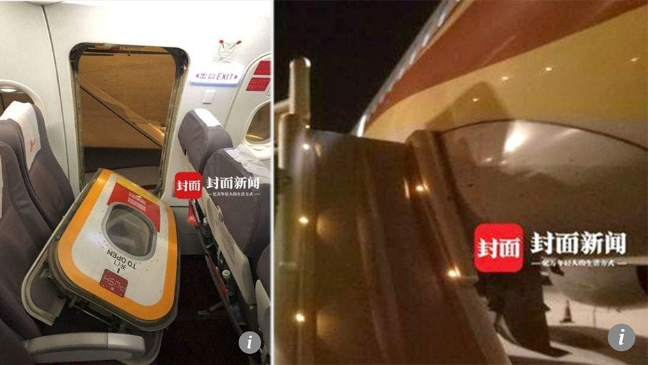 A passenger in China claims he accidentally opened the emergency exit, but officials aren't buying it.