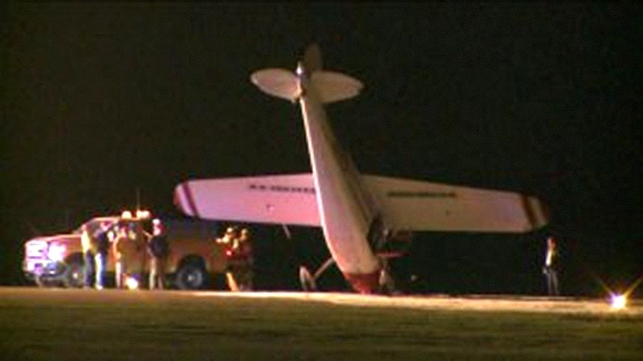 The single-engine plane was reportedly upended by a strong gust of wind upon landing.