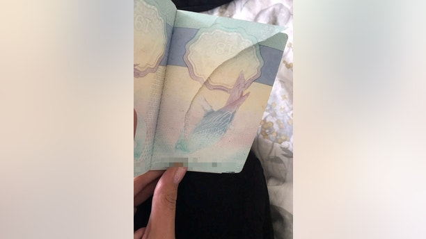 The torn page in Hayley Lewis' passport. See SWNS story SWPASSPORT; A young mum missed her three-year-old daughter's first flight - because there was a tear in her passport. Hayley Lewis, 28, had booked a family holiday to Menorca, Spain, with her daughter, Syndney Hedges, mother, Sally Lewis, 48, and disabled gran, Jane Wozencroft, 72.The clan headed to the airport but disaster struck when an airport worker refused to let Hayley on the plane because a page of her passport was torn. They noticed the rip at the last possible check as Hayley was about to board the plane, and refused to let her on board.