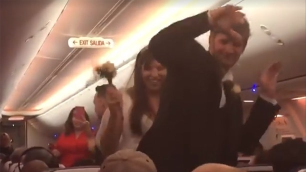 wedding happening on a plane
