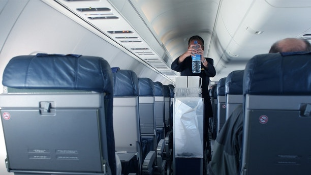 flight attendant collecting trash
