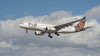 Fiji Airways aircraft shown moments before landing at the Los Angeles International airport, LAX.