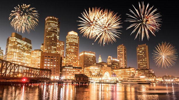boston night skyline with fireworks for the 2017