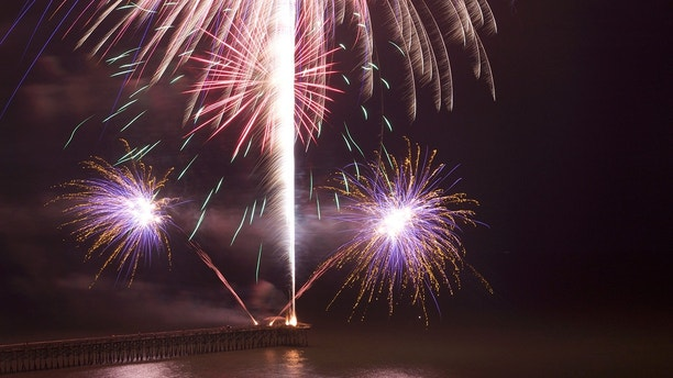 Labor Day fireworks show on the pier at Myrtle Beach.