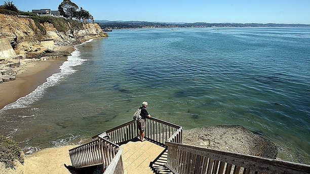 This Aug. 31, 2016, photo shows a staircase from Opal Cliffs Park that leads to Opal Cliffs Neighborhood Beach, more commonly known as Privates, in the Live Oak neighborhood of an unincorporated part of Santa Cruz County, Calif. The California Coastal Commission will decide whether access to a secluded beach can be restricted by a 9-foot iron fence, locking gate with a $100 annual key fee and a gate attendant. The commission on Thursday, July 12, 2018 will vote on whether the resident-run program that has regulated access to Santa Cruz County's Privates Beach for more than 50 years is allowed to continue. (Dan Coyro/Santa Cruz Sentinel via AP)