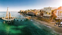 Panoramic Aerial View of Puerto Vallarta Skyline in Mexico.