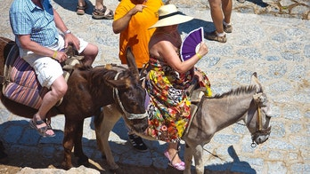 RHODES, GREECE - JUlLY 04: Tourists riding donkeys up to the Acropolis of Lindos on July 04, 2010 in Lindos, Greece. The old town of Lindos is famous for its class listed monuments and the ancient Acropolis, listed at the  Unesco World Heritage. Rhodes is the largest of the Greek Dodecanes Islands. (Photo by EyesWideOpen/Getty Images)