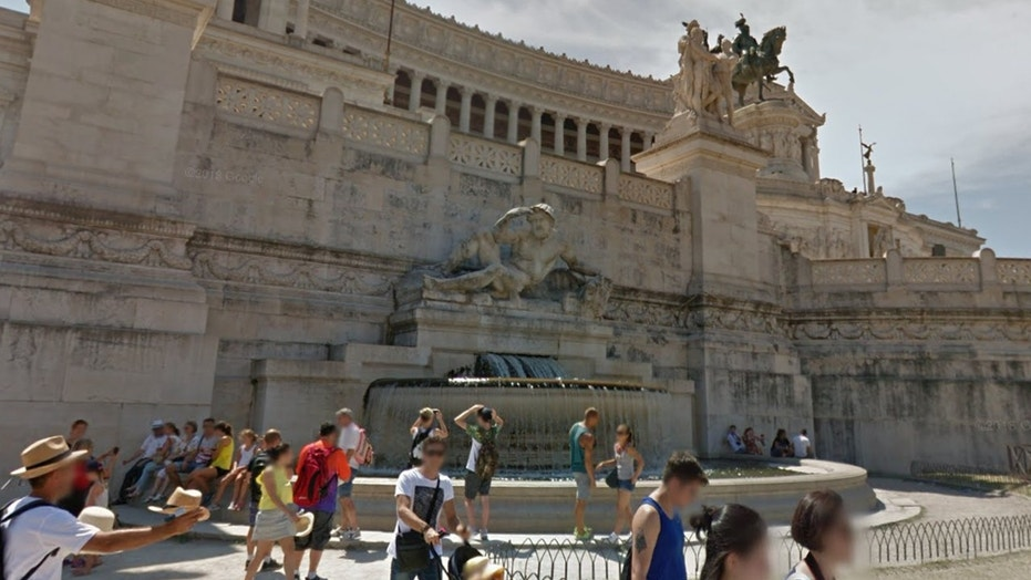 Rome police are searching for two tourists who went skinny-dipping in an ancient fountain.
