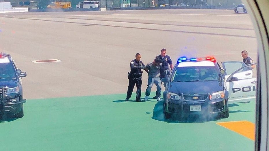 A man was arrested at Los Angeles airport after jumping over a fence, walking on a catwalk and doing pushups, the airport police said.