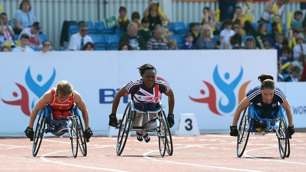 L-R: Denmark's Marianne Maiboll, Great Britain's Anne Wafula-Strike and Geaorgina Oliver during the T53/54 Women's 100m   (Photo by Tony Marshall - EMPICS/PA Images via Getty Images)