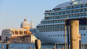 Venice, Italy - August 13, 2016: Seabourn Odyssey cruise ship with passengers in Venice lagoon