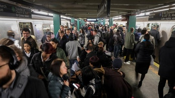 NEW YORK, NY - APRIL 12: Large crowds gather during the morning rush hour at the Hoyt-Schermerhorn subway station, April 12, 2018 in the Brooklyn borough of New York City. A fight between customers on a morning A train caused backups through the morning rush. (Photo by Drew Angerer/Getty Images)