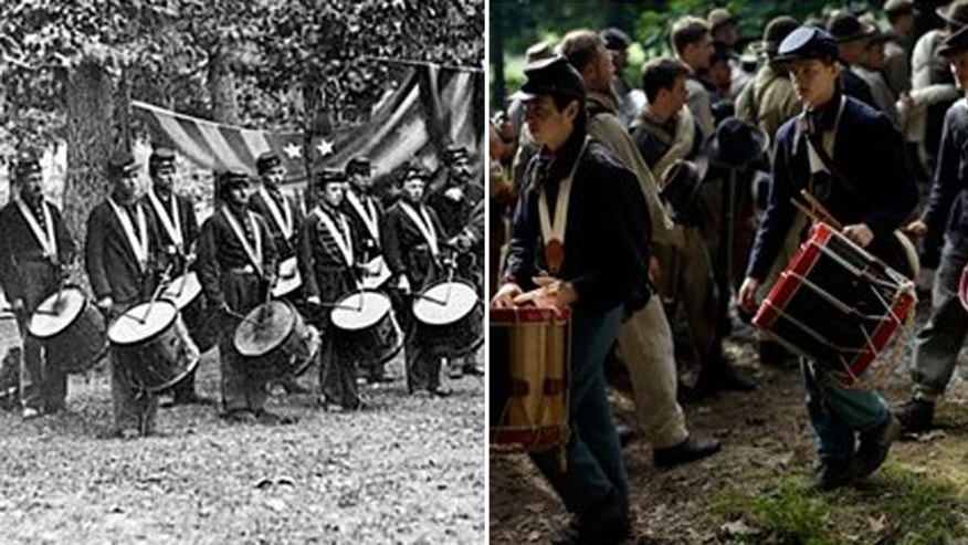 A photo (left) of the 93rd New York Infantry's drum corps taken between August 1863 and November 1863.  Union re-enactors(right) marching by Confederates at Bushey Farm in Gettysburg.