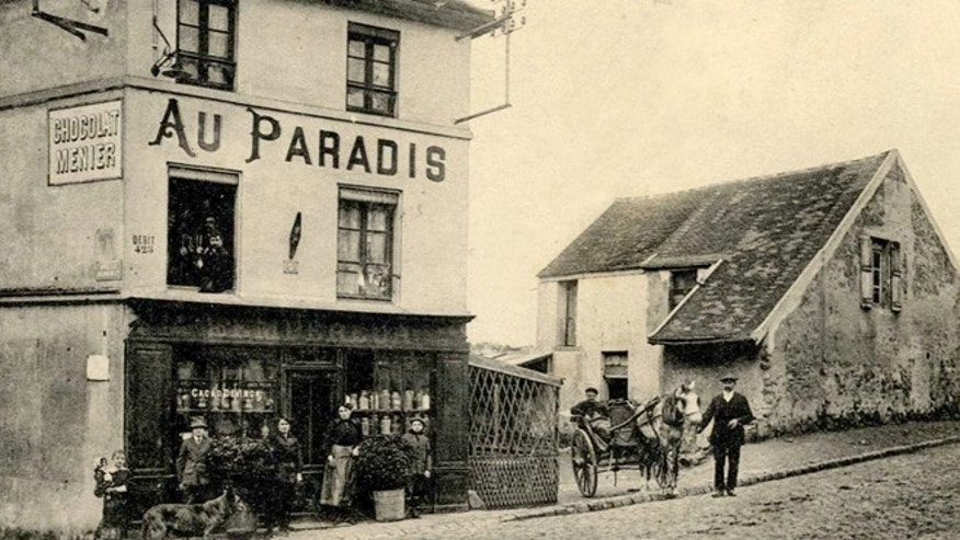 "A vintage postcard printed around 1915 shows the cafe ""Au Paradis"" (In Heaven) of Goussainville-Vieux Pays, 20 kms (12 miles) northern Paris. In 1972 the farming village of 144 homes found itself under the direct flight path of Roissy's Charles de Gaulle Airport when it opened. Residents started to abandon their homes, unable to endure the constant noise of the passenger planes flying overhead. Nowadays, only few families remain living in what has become almost a ghost village.  REUTERS/Collection Charles Platiau (FRANCE - Tags: SOCIETY)  FOR EDITORIAL USE ONLY. NOT FOR SALE FOR MARKETING OR ADVERTISING CAMPAIGNS - RTX13SHX"