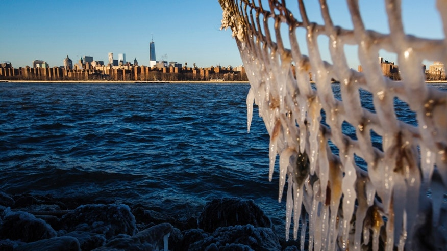 Ice forms on the shore of the East River due to unusually low temperatures caused by a Polar Vortex in New York January 7, 2014. REUTERS/Lucas Jackson (UNITED STATES - Tags: ENVIRONMENT CITYSCAPE) - RTX1759G