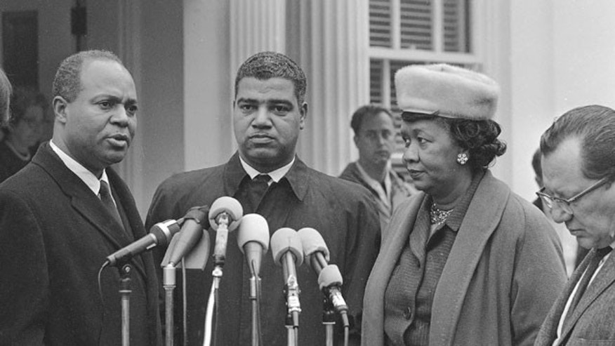 Nov. 19, 1964:  James Farmer, national director of the Congress of Racial Equality; Whitney M. Young, Jr., executive director of the National Urban League; Dorothy Height of the National Council of Negro Women, talk to reporters in Washington D.C. after meeting with President Lyndon Johnson. Height.