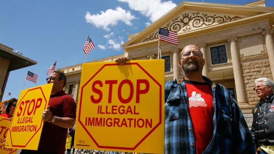 Apr. 23: Supporters of the illegal immigration enforcement law rallied at the state Capitol in Phoenix.