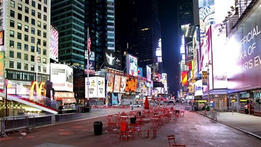 May 1: Times Square is void of pedestrians just south of 46th Street in New York.
