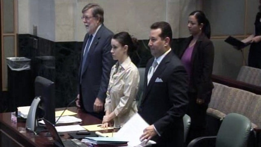 May 10: Casey Anthony stands in courtroom as judge decides jurors in trial will be picked from outside Orlando and brought to Central Florida for the trial. (MyFoxOrlando.com)