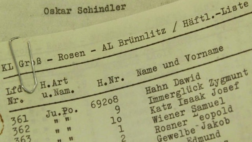 Documents believed to be from Oskar Schindler, from 'Stuttgarter Zeitung' exhibit, Stuttgart, Germany.
