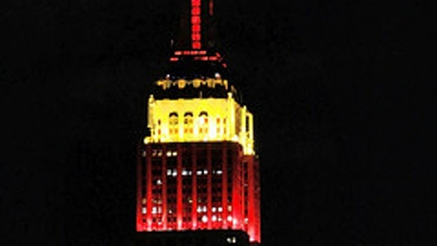 Sept. 9, 2009: The Empire State Building is lit in red and yellow to honor the 60th anniversary of China's communist revolution and the founding of the People's Republic of China.