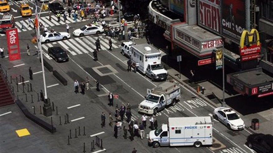 File: New York's Times Square is shown shut down earlier this year because of a suspicious package.