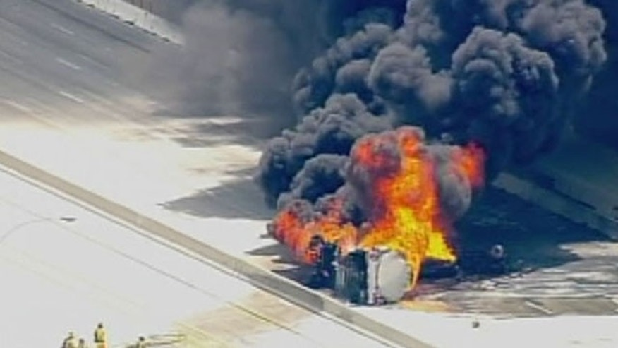 May 28: A tanker overturns and explodes on a California freeway.
