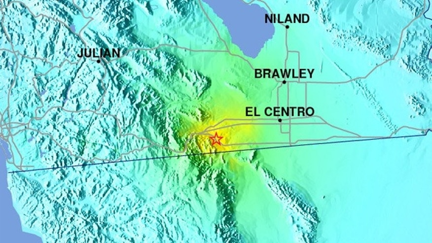 USGS shakemap shows the earthquake epicenter east of San Diego, near the Mexico border.