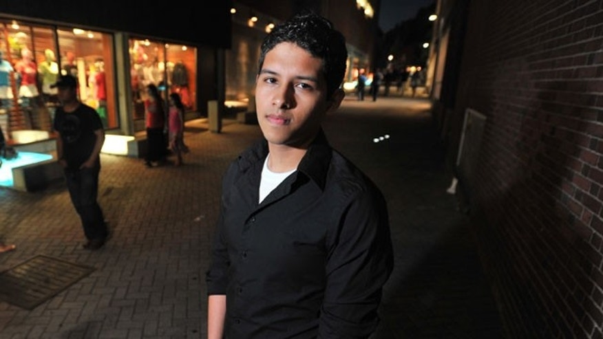 June 11: Undocumented Harvard Student Eric Balderas, 19, poses for a photograph in Harvard Square in Cambridge, Mass.