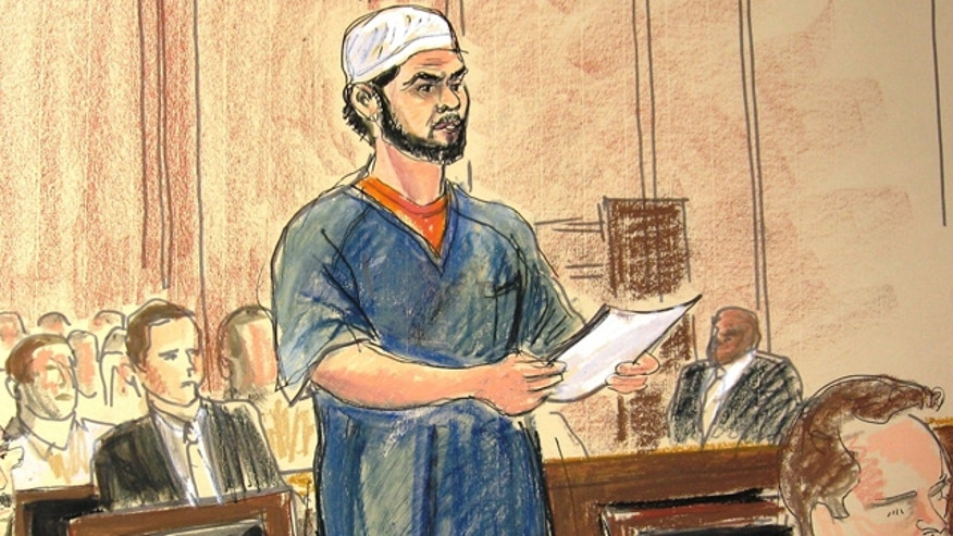 June 21: In this courtroom sketch, Faisal Shahzad, a naturalized U.S. citizen from Pakistan, pleads guilty in Manhattan Federal Court to carrying out the failed May 1 car bombing in New York's Times Square.