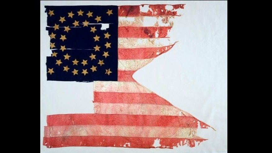 This photo provided by Sotheby's in New York shows The Culbertson Guidon from the 1876 Battle of the Little Bighorn.