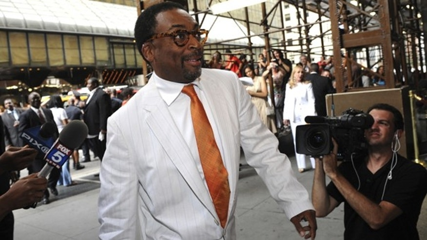 This July 10, 2010 file photo shows director Spike Lee entering Cipriani's for the wedding of Carmelo Anthony and LaLa Vasquez, in New York. Lee has screened his new four-hour documentary on the massive BP oil spill in the Gulf of Mexico and says no one from the oil giant is speaking to him.