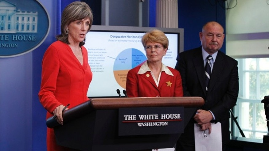 Aug. 4: From left, Carol Browner, assistant to the President for energy and climate change, NOAA chief Jane Lubchenco, and national incident commander of the BP oil spill Thad Allen, update reporters at the White House, in Washington.