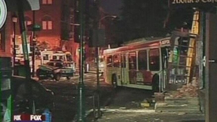 A collision between a DRPA vehicle and a SEPTA bus has demolished part of a popular Philadelphia restaurant.