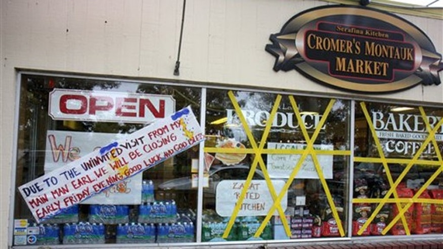 Sept. 3, 2010: Windows are taped at Cromer's Montauk Market in preparation for Hurricane Earl in Montauk, N.Y.