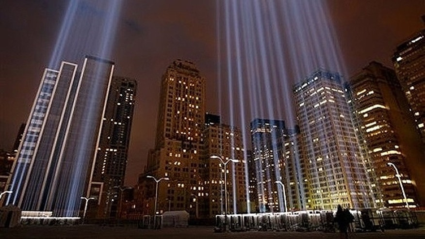 Sept. 10: The Tribute in Lights is tested from a rooftop near Ground Zero in New York.