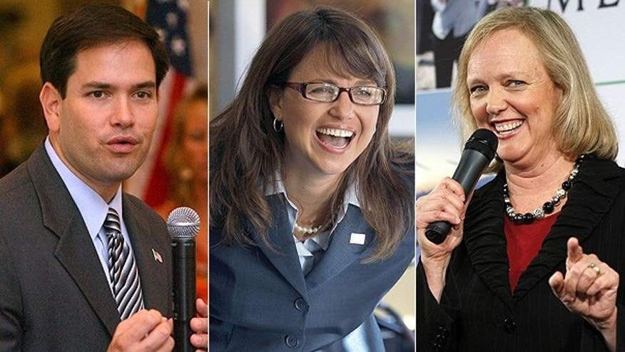 From left: Florida Republican Senate candidate Marko Rubio, Delaware Republican Senate candidate Christine O'Donnell, and California Republican Gubernatorial candidate Meg Whitman.
