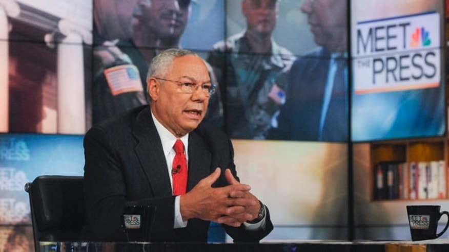 "September 19: In this photo released by NBC, former Secretary of State Gen. Colin Powell, retired, speaks on NBC's ""Meet the Press"" in Washington. (AP)"