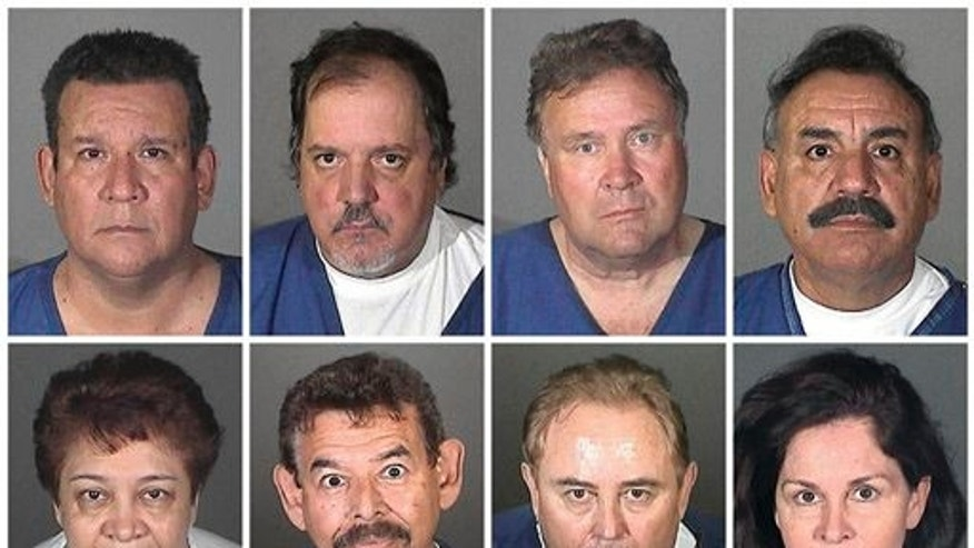 This combo made with booking photos provided by the Los Angeles County Sheriff's Department shows from top left, Luis Artiga, Victor Bello, George Cole, and Oscar Hernandez; from bottom left, Teresa Jacobo, George Mirabal, Robert Rizzo, and Peir'Angela Spaccia. The eight are charged with taking more than $5.5 million from the working-class suburb of Bell, Calif. in a scandal that triggered nationwide outrage and calls for more transparency in government.