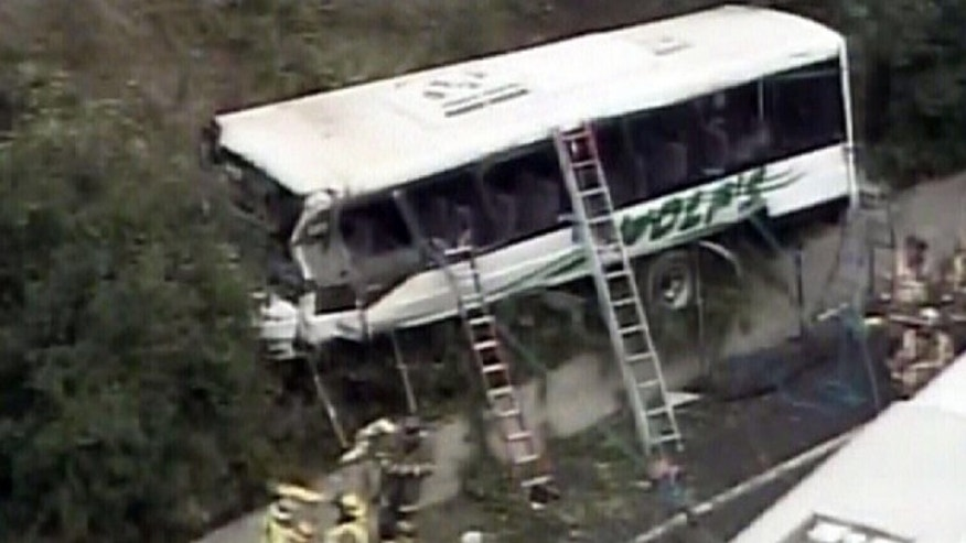 Sept. 29, 2010: This image taken from video provided by WJLA shows a bus after crashing along I-270 in Bethesda, Md.. Maryland State Police say the commuter bus plunged off a highway outside the nation's capital.