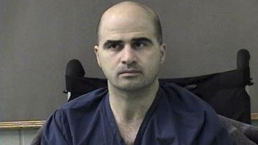 April 9: In this photo released by the Bell County Sheriffs Department, U.S. Major Nidal Hasan is shown after being moved from Brooke Army Medical Center in San Antonio to Bell County Jail in Belton, Texas.