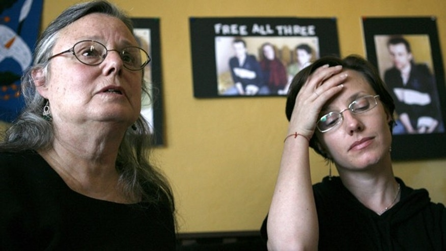 Oct. 9: Nora Shourd, left, along with her daughter, Sarah Shourd, speak to the media in Oakland, Calif.